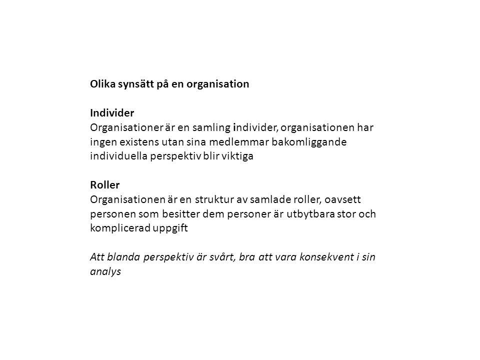 Olika synsätt på en organisation Individer Organisationer är en samling individer, organisationen har ingen existens utan sina medlemmar bakomliggande