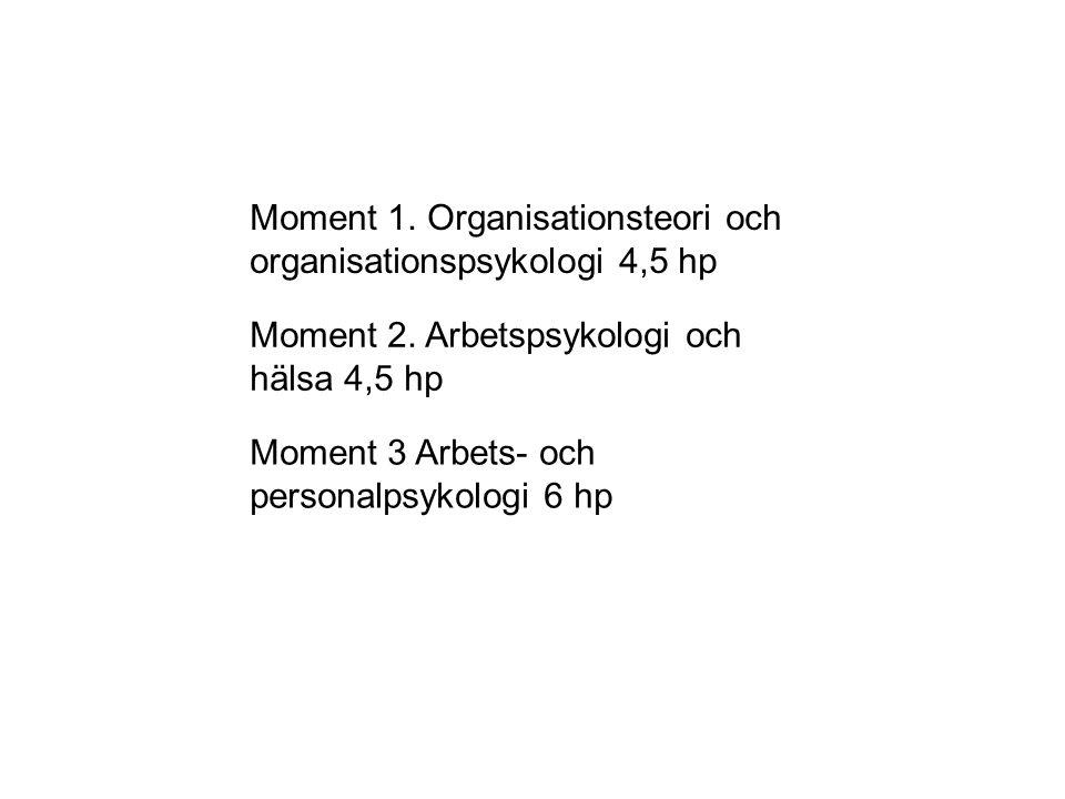Moment 1. Organisationsteori och organisationspsykologi 4,5 hp Moment 2. Arbetspsykologi och hälsa 4,5 hp Moment 3 Arbets- och personalpsykologi 6 hp