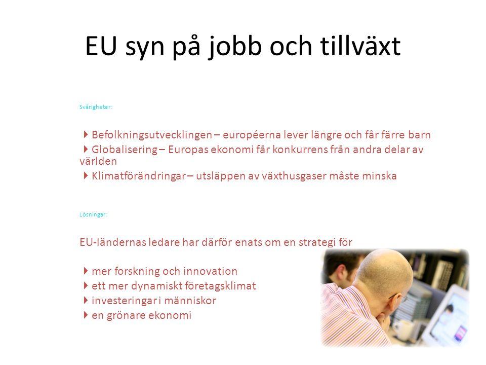 EU syn på jobb och tillväxt Svårigheter:  Befolkningsutvecklingen – européerna lever längre och får färre barn  Globalisering – Europas ekonomi får