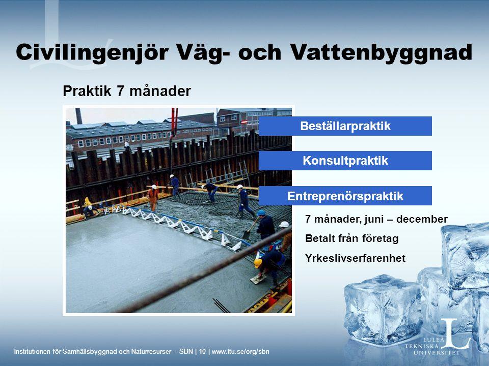 Institutionen för Samhällsbyggnad och Naturresurser – SBN | 10 | www.ltu.se/org/sbn Civilingenjör Väg- och Vattenbyggnad Praktik 7 månader Beställarpr