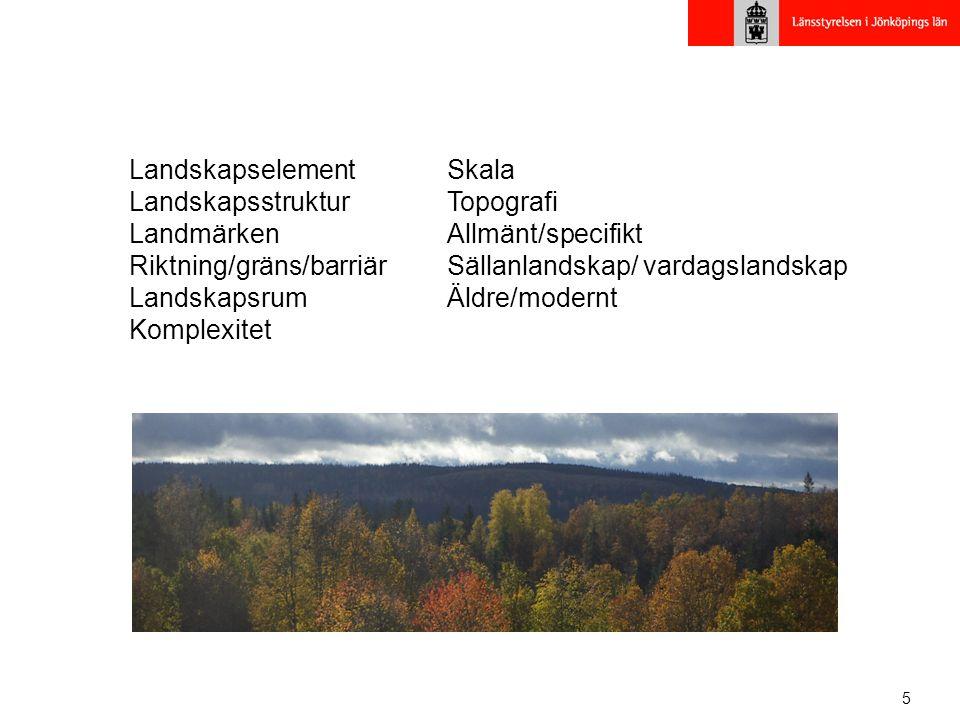 5 Landskapselement Landskapsstruktur Landmärken Riktning/gräns/barriär Landskapsrum Komplexitet Skala Topografi Allmänt/specifikt Sällanlandskap/ vardagslandskap Äldre/modernt