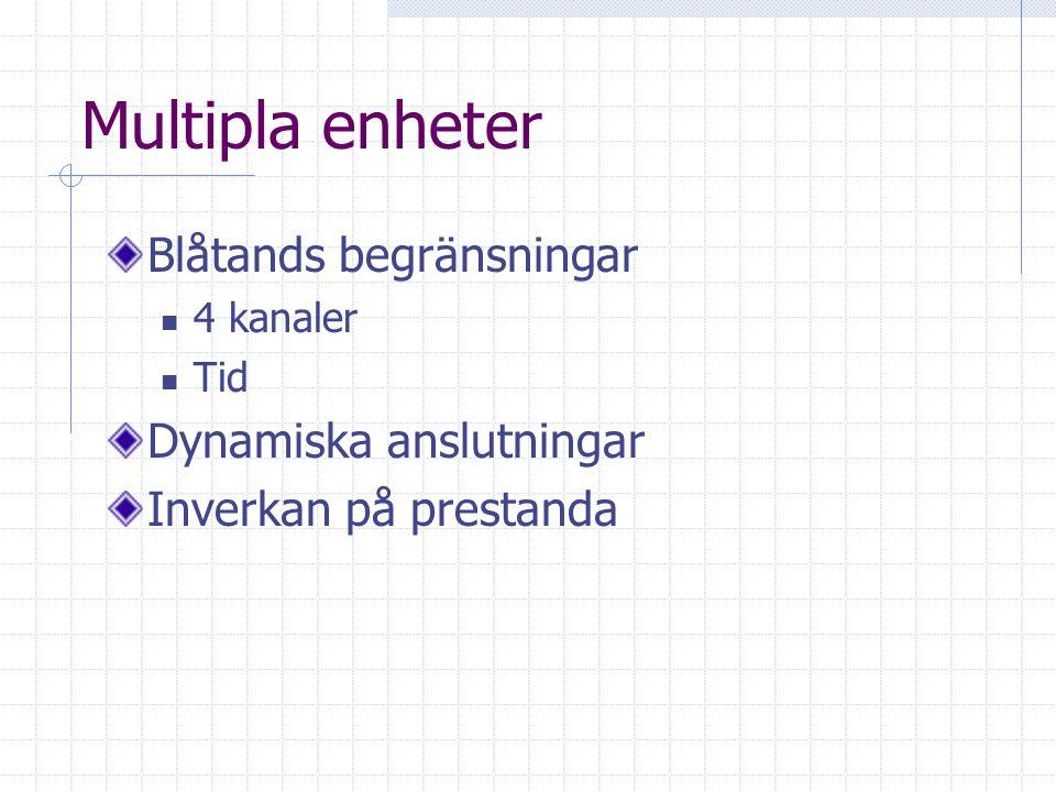 Multipla enheter Blåtands begränsningar 4 kanaler Tid Dynamiska anslutningar Inverkan på prestanda