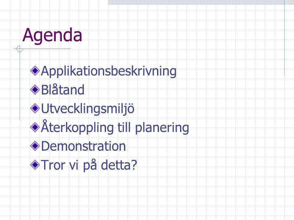 Agenda Applikationsbeskrivning Blåtand Utvecklingsmiljö Återkoppling till planering Demonstration Tror vi på detta