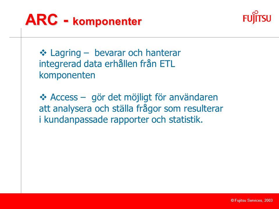 © Fujitsu Services, 2003 ARC - komponenter  Lagring – bevarar och hanterar integrerad data erhållen från ETL komponenten  Access – gör det möjligt för användaren att analysera och ställa frågor som resulterar i kundanpassade rapporter och statistik.