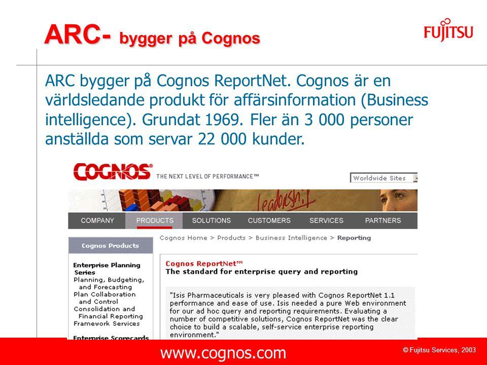 © Fujitsu Services, 2003 ARC- bygger på Cognos ARC bygger på Cognos ReportNet. Cognos är en världsledande produkt för affärsinformation (Business inte