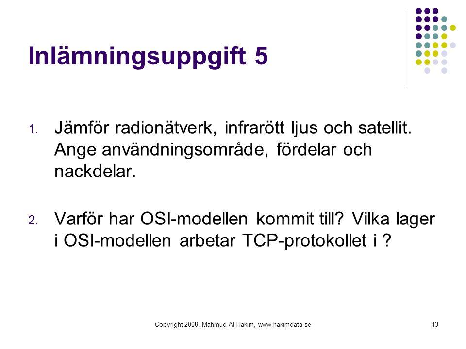 Copyright 2008, Mahmud Al Hakim, www.hakimdata.se13 Inlämningsuppgift 5 1. Jämför radionätverk, infrarött ljus och satellit. Ange användningsområde, f