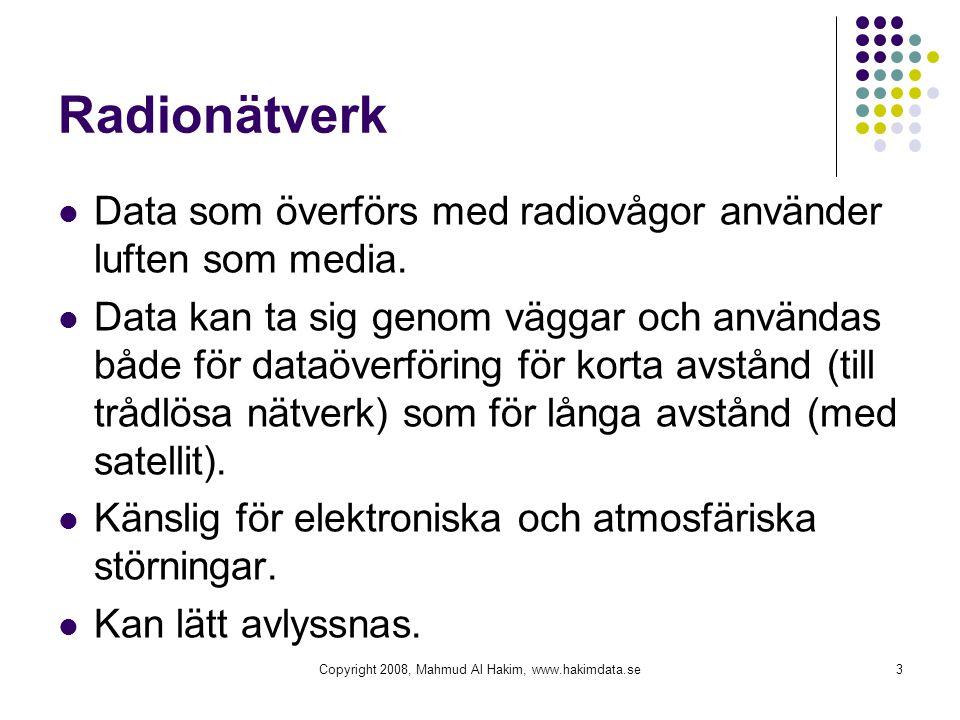 Radionätverk Data som överförs med radiovågor använder luften som media.