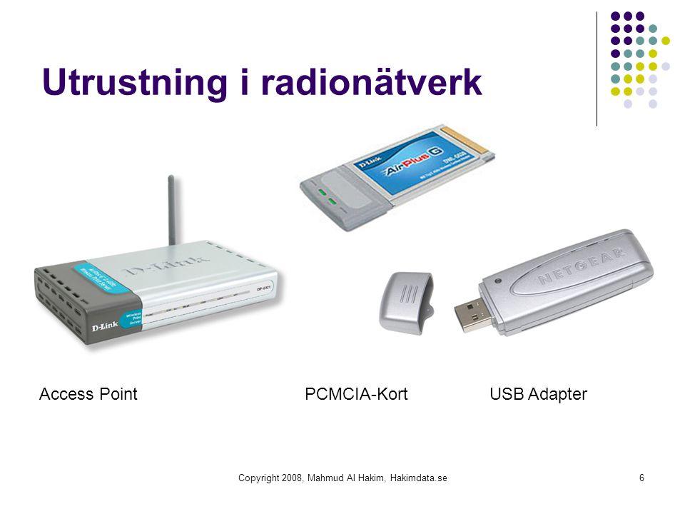 Utrustning i radionätverk Copyright 2008, Mahmud Al Hakim, Hakimdata.se6 Access Point PCMCIA-Kort USB Adapter