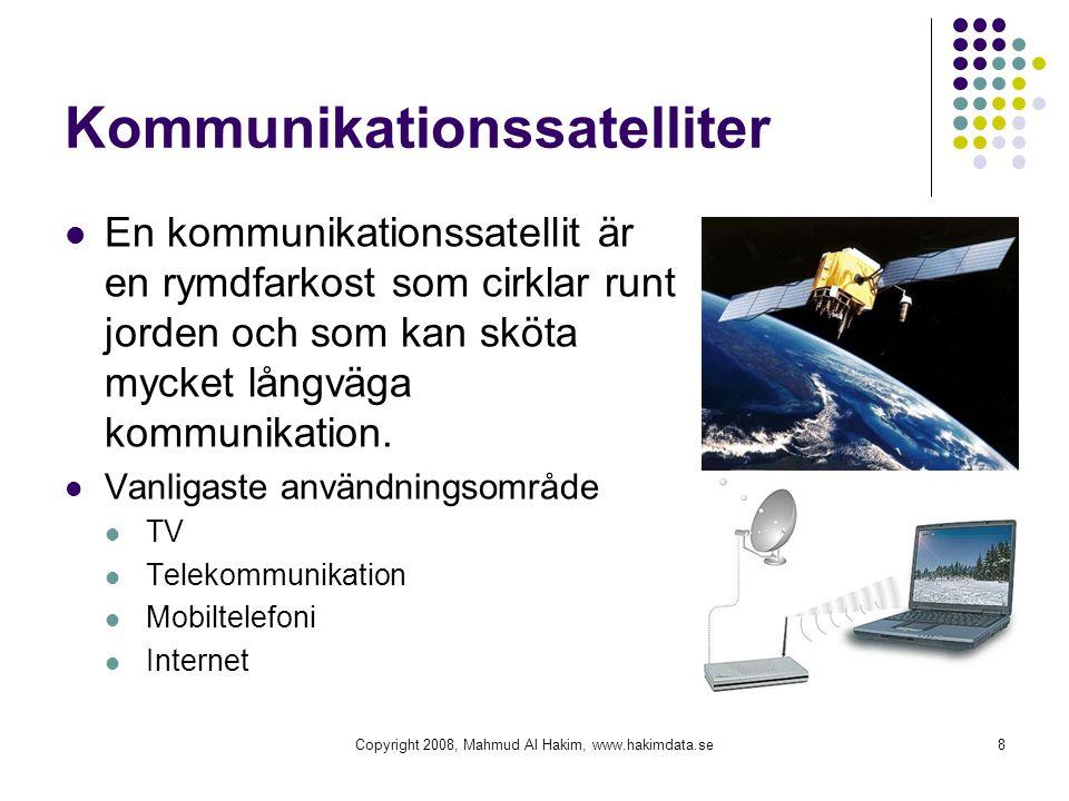 Kommunikationssatelliter En kommunikationssatellit är en rymdfarkost som cirklar runt jorden och som kan sköta mycket långväga kommunikation. Vanligas