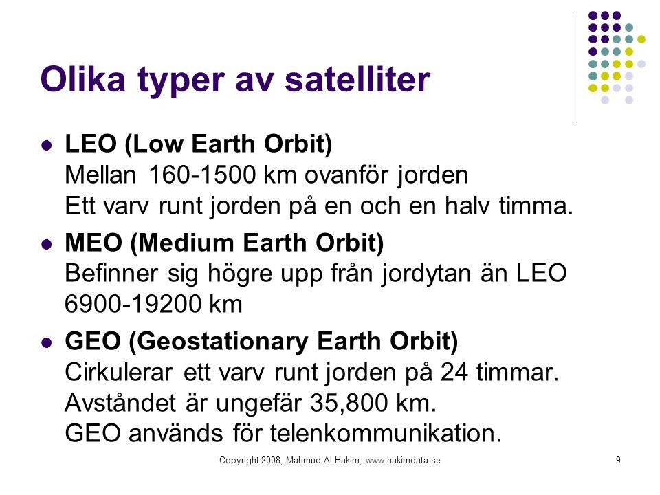 Olika typer av satelliter LEO (Low Earth Orbit) Mellan 160-1500 km ovanför jorden Ett varv runt jorden på en och en halv timma. MEO (Medium Earth Orbi