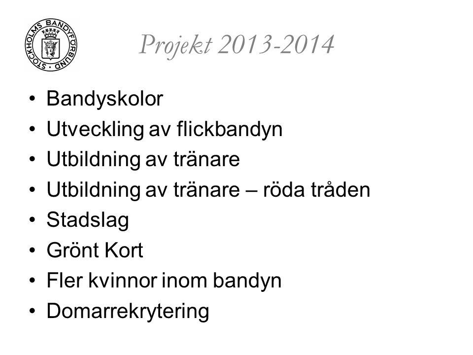 Projekt 2013-2014 Bandyskolor Utveckling av flickbandyn Utbildning av tränare Utbildning av tränare – röda tråden Stadslag Grönt Kort Fler kvinnor ino