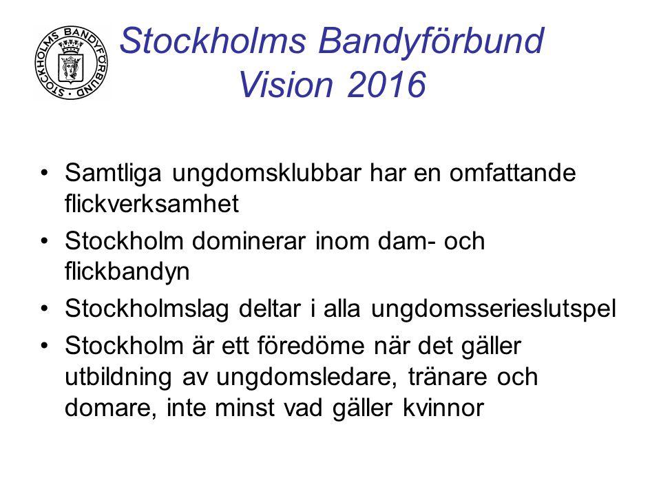 Stockholms Bandyförbund Vision 2016 Samtliga ungdomsklubbar har en omfattande flickverksamhet Stockholm dominerar inom dam- och flickbandyn Stockholmslag deltar i alla ungdomsserieslutspel Stockholm är ett föredöme när det gäller utbildning av ungdomsledare, tränare och domare, inte minst vad gäller kvinnor