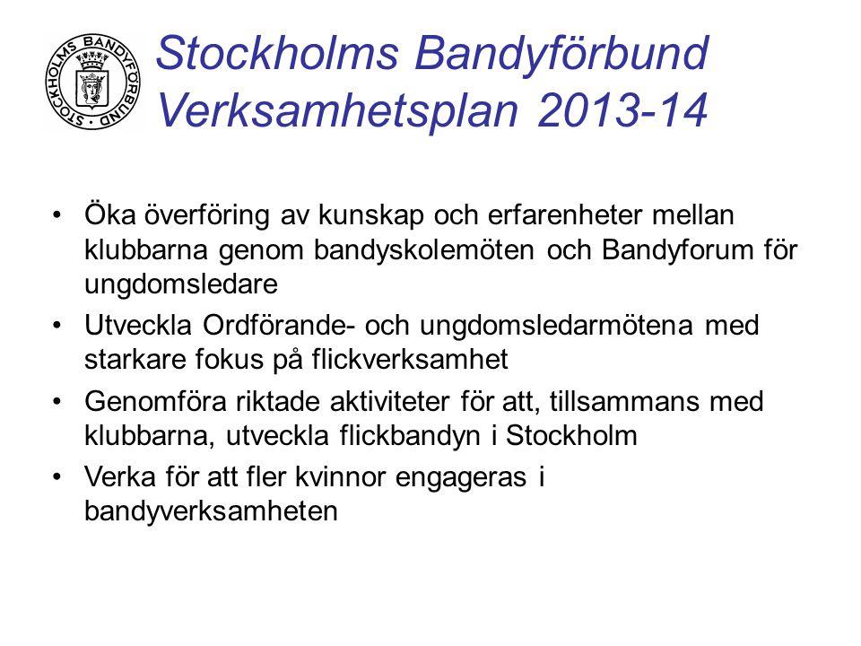 Stockholms Bandyförbund Verksamhetsplan 2013-14 Öka överföring av kunskap och erfarenheter mellan klubbarna genom bandyskolemöten och Bandyforum för ungdomsledare Utveckla Ordförande- och ungdomsledarmötena med starkare fokus på flickverksamhet Genomföra riktade aktiviteter för att, tillsammans med klubbarna, utveckla flickbandyn i Stockholm Verka för att fler kvinnor engageras i bandyverksamheten