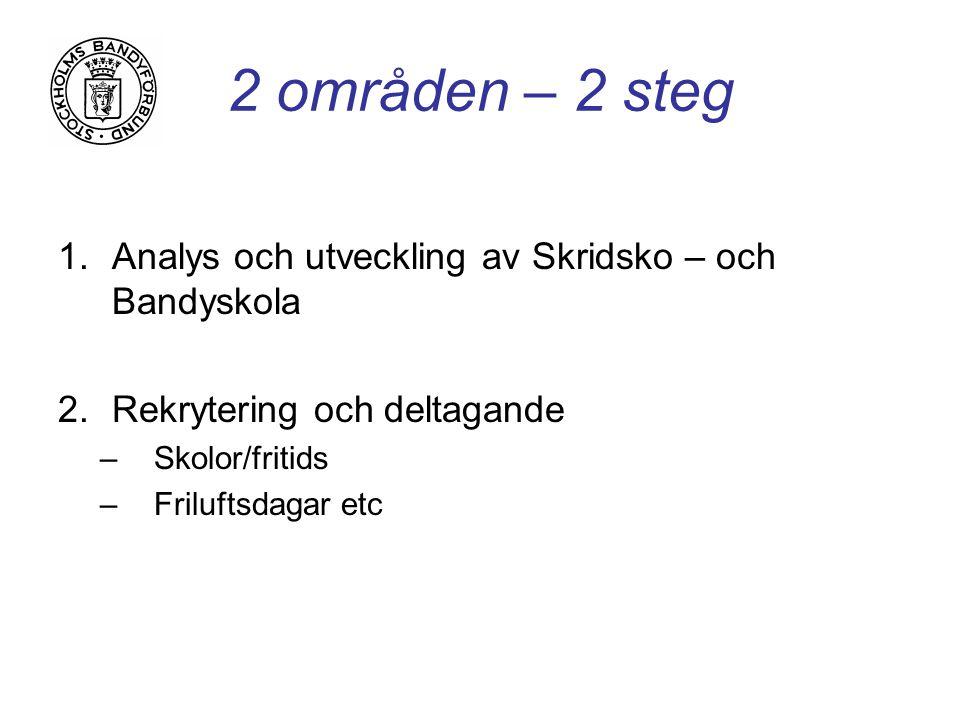 2 områden – 2 steg 1.Analys och utveckling av Skridsko – och Bandyskola 2.Rekrytering och deltagande –Skolor/fritids –Friluftsdagar etc