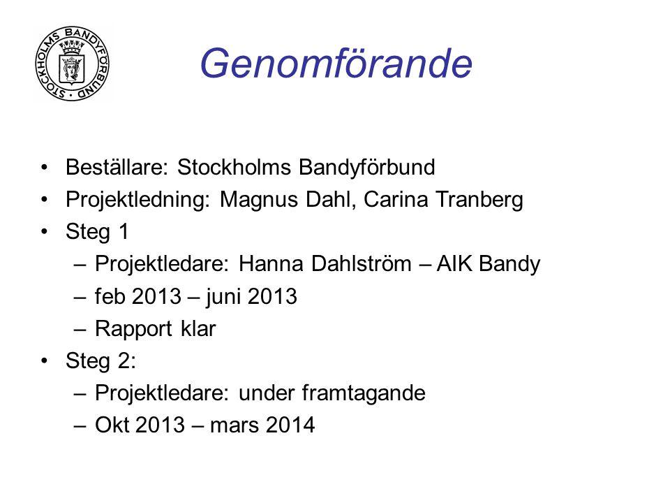Genomförande Beställare: Stockholms Bandyförbund Projektledning: Magnus Dahl, Carina Tranberg Steg 1 –Projektledare: Hanna Dahlström – AIK Bandy –feb 2013 – juni 2013 –Rapport klar Steg 2: –Projektledare: under framtagande –Okt 2013 – mars 2014