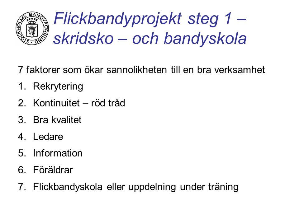 Flickbandyprojekt steg 1 – skridsko – och bandyskola 7 faktorer som ökar sannolikheten till en bra verksamhet 1.Rekrytering 2.Kontinuitet – röd tråd 3