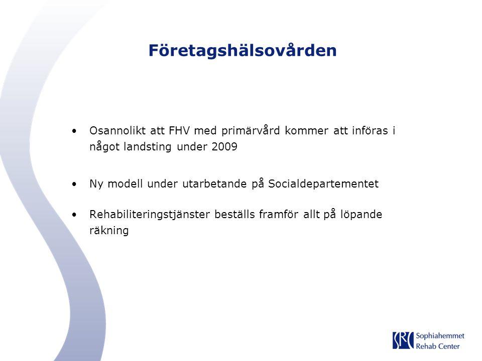 Företagshälsovården Osannolikt att FHV med primärvård kommer att införas i något landsting under 2009 Ny modell under utarbetande på Socialdepartement