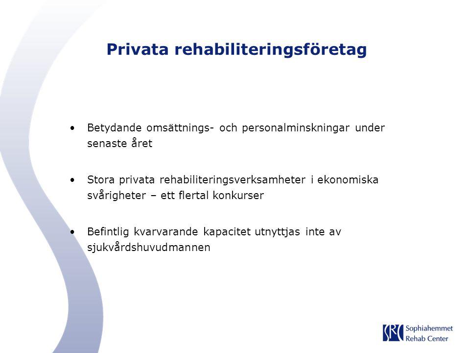 Privata rehabiliteringsföretag Betydande omsättnings- och personalminskningar under senaste året Stora privata rehabiliteringsverksamheter i ekonomisk