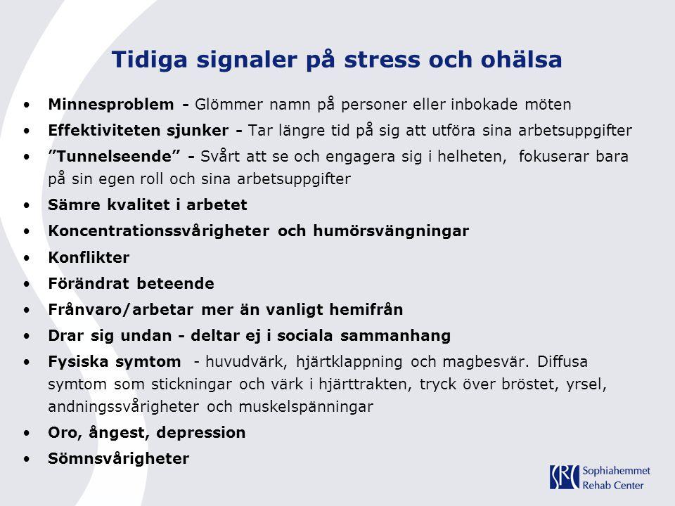 Tidiga signaler på stress och ohälsa Minnesproblem - Glömmer namn på personer eller inbokade möten Effektiviteten sjunker - Tar längre tid på sig att