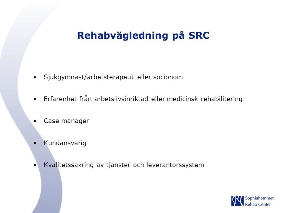 Rehabvägledning på SRC Sjukgymnast/arbetsterapeut eller socionom Erfarenhet från arbetslivsinriktad eller medicinsk rehabilitering Case manager Kundan