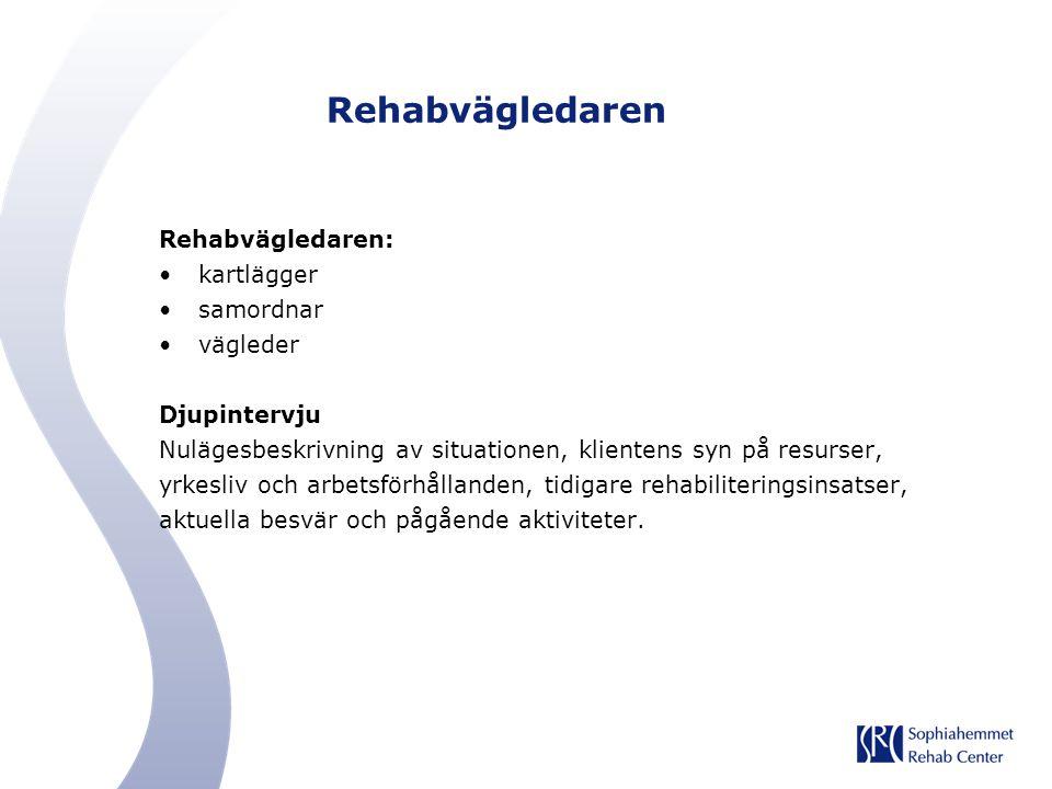 Rehabvägledaren Rehabvägledaren: kartlägger samordnar vägleder Djupintervju Nulägesbeskrivning av situationen, klientens syn på resurser, yrkesliv och