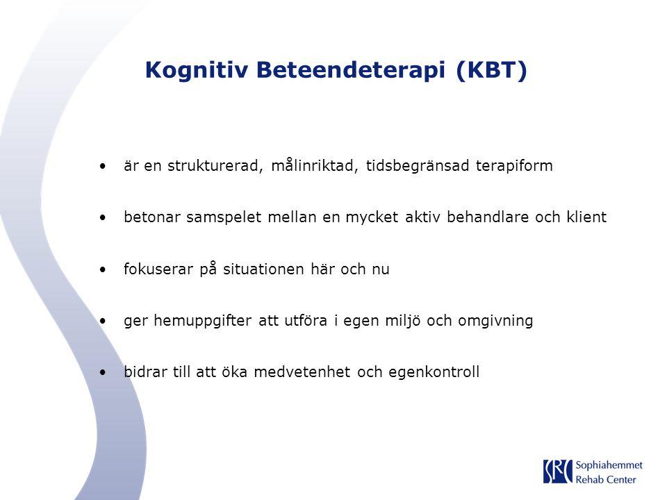 Kognitiv Beteendeterapi (KBT) är en strukturerad, målinriktad, tidsbegränsad terapiform betonar samspelet mellan en mycket aktiv behandlare och klient