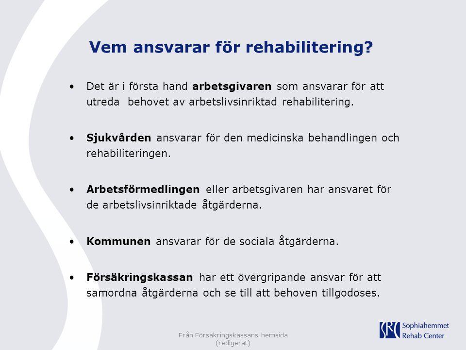 Från Försäkringskassans hemsida (redigerat) Vem ansvarar för rehabilitering? Det är i första hand arbetsgivaren som ansvarar för att utreda behovet av