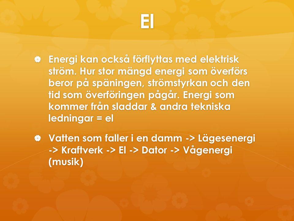 El  Energi kan också förflyttas med elektrisk ström. Hur stor mängd energi som överförs beror på späningen, strömstyrkan och den tid som överföringen