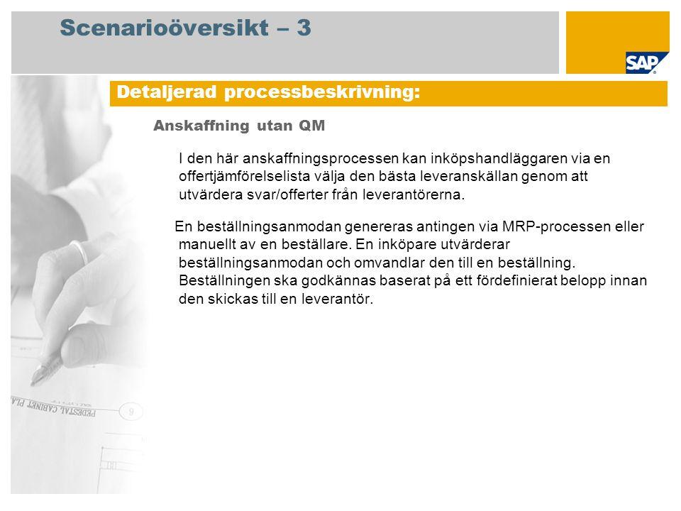 Scenarioöversikt – 3 Anskaffning utan QM I den här anskaffningsprocessen kan inköpshandläggaren via en offertjämförelselista välja den bästa leveransk