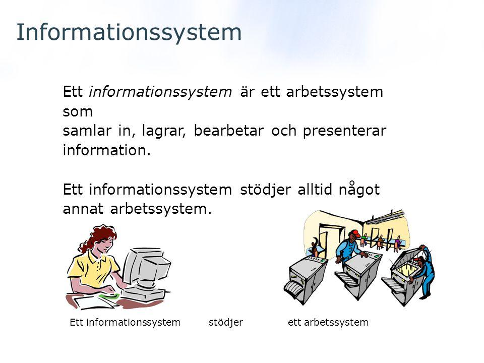 Informationssystem Ett informationssystem är ett arbetssystem som samlar in, lagrar, bearbetar och presenterar information. Ett informationssystem stö