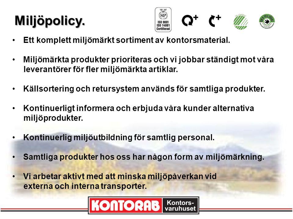 Miljöpolicy. Ett komplett miljömärkt sortiment av kontorsmaterial.