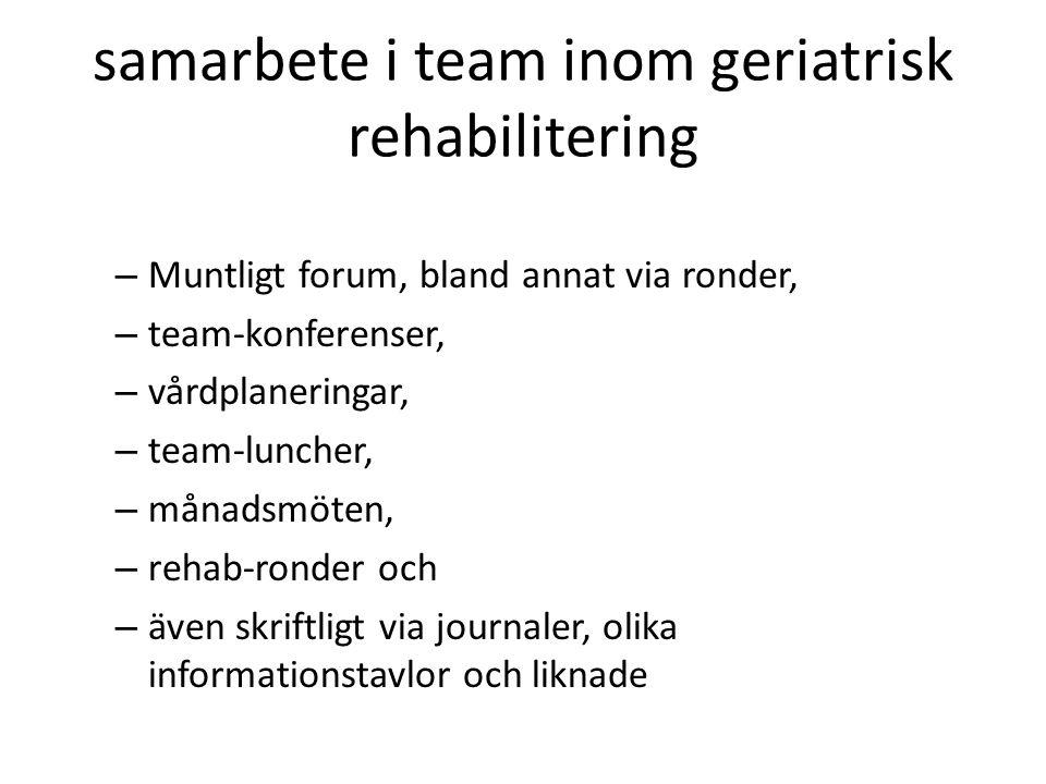 samarbete i team inom geriatrisk rehabilitering – Muntligt forum, bland annat via ronder, – team-konferenser, – vårdplaneringar, – team-luncher, – mån