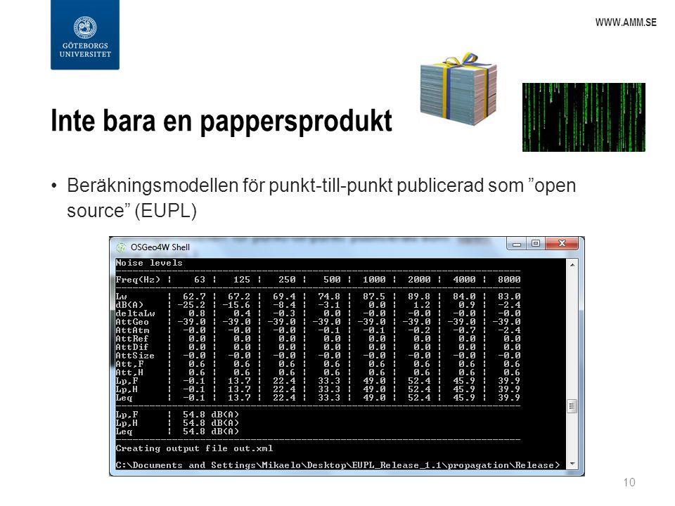 """Inte bara en pappersprodukt Beräkningsmodellen för punkt-till-punkt publicerad som """"open source"""" (EUPL) 10 WWW.AMM.SE"""