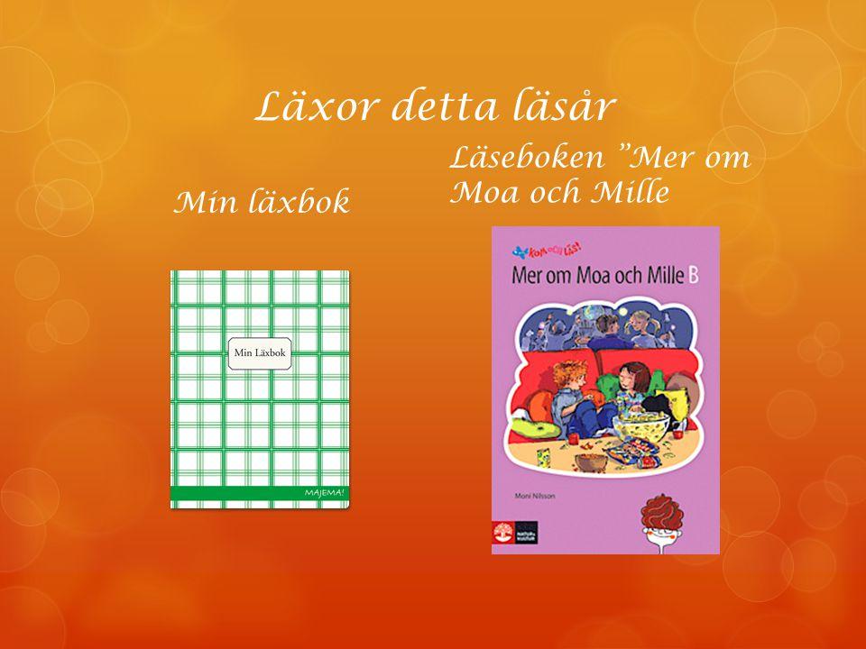 """Läxor detta läsår Min läxbok Läseboken """"Mer om Moa och Mille"""