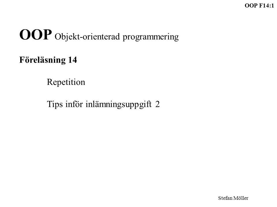 OOP F14:1 Stefan Möller OOP Objekt-orienterad programmering Föreläsning 14 Repetition Tips inför inlämningsuppgift 2