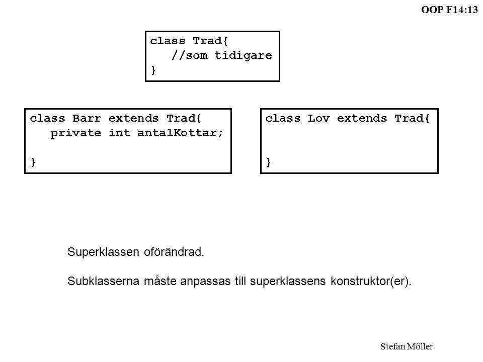 OOP F14:13 Stefan Möller class Barr extends Trad{ private int antalKottar; } class Lov extends Trad{ } class Trad{ //som tidigare } Superklassen oförändrad.