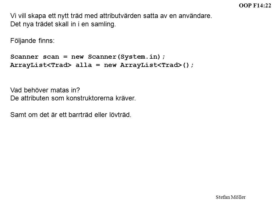 OOP F14:22 Stefan Möller Vi vill skapa ett nytt träd med attributvärden satta av en användare.