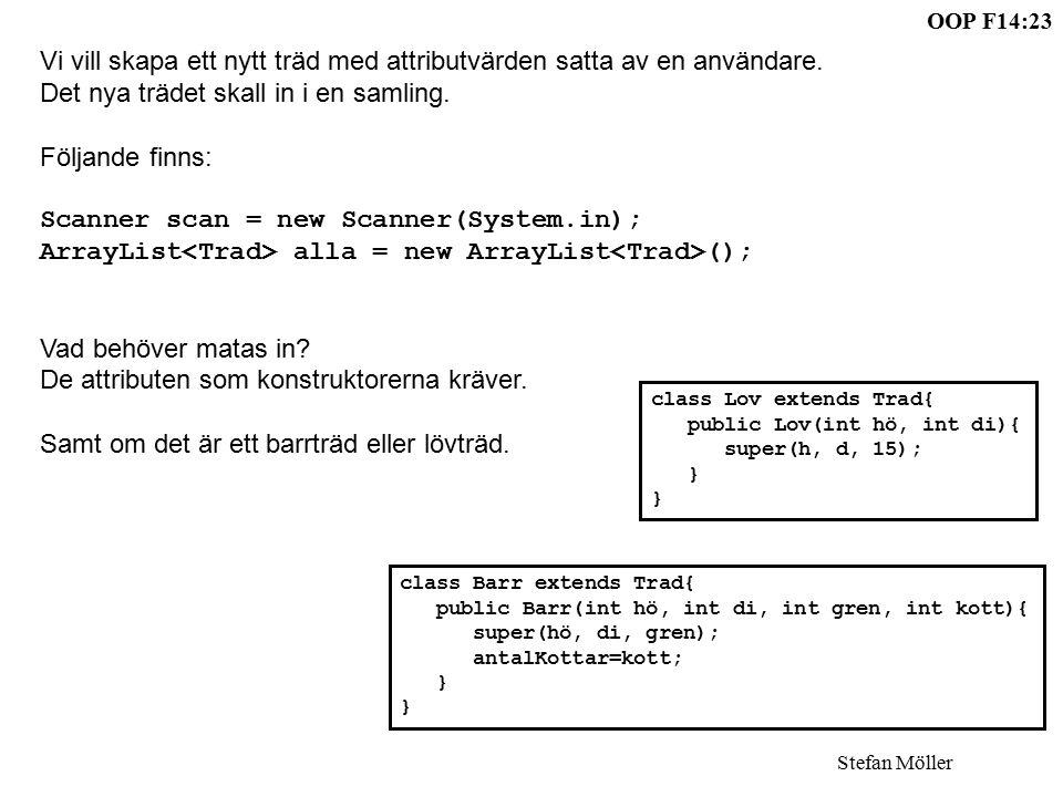 OOP F14:23 Stefan Möller Vi vill skapa ett nytt träd med attributvärden satta av en användare.