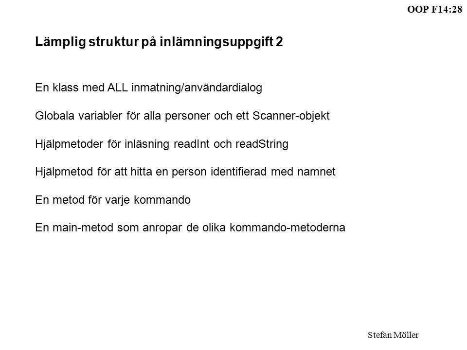 OOP F14:28 Stefan Möller Lämplig struktur på inlämningsuppgift 2 En klass med ALL inmatning/användardialog Globala variabler för alla personer och ett Scanner-objekt Hjälpmetoder för inläsning readInt och readString Hjälpmetod för att hitta en person identifierad med namnet En metod för varje kommando En main-metod som anropar de olika kommando-metoderna