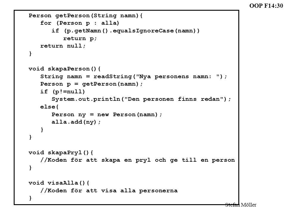 OOP F14:30 Stefan Möller Person getPerson(String namn){ for (Person p : alla) if (p.getNamn().equalsIgnoreCase(namn)) return p; return null; } void skapaPerson(){ String namn = readString( Nya personens namn: ); Person p = getPerson(namn); if (p!=null) System.out.println( Den personen finns redan ); else{ Person ny = new Person(namn); alla.add(ny); } void skapaPryl(){ //Koden för att skapa en pryl och ge till en person } void visaAlla(){ //Koden för att visa alla personerna }