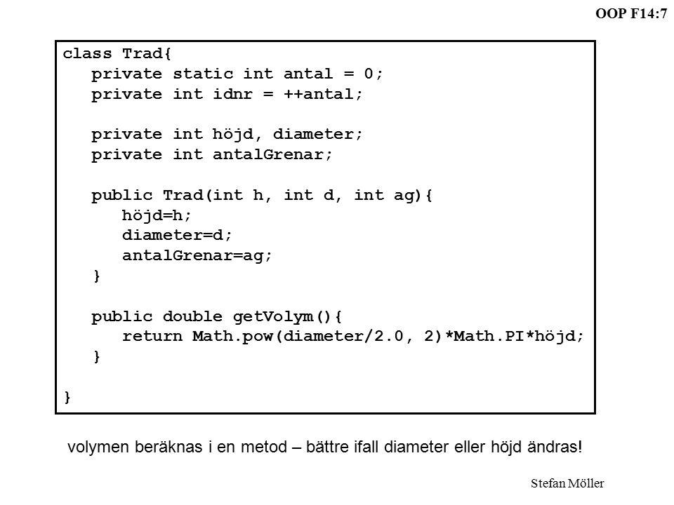 OOP F14:7 Stefan Möller class Trad{ private static int antal = 0; private int idnr = ++antal; private int höjd, diameter; private int antalGrenar; public Trad(int h, int d, int ag){ höjd=h; diameter=d; antalGrenar=ag; } public double getVolym(){ return Math.pow(diameter/2.0, 2)*Math.PI*höjd; } volymen beräknas i en metod – bättre ifall diameter eller höjd ändras!