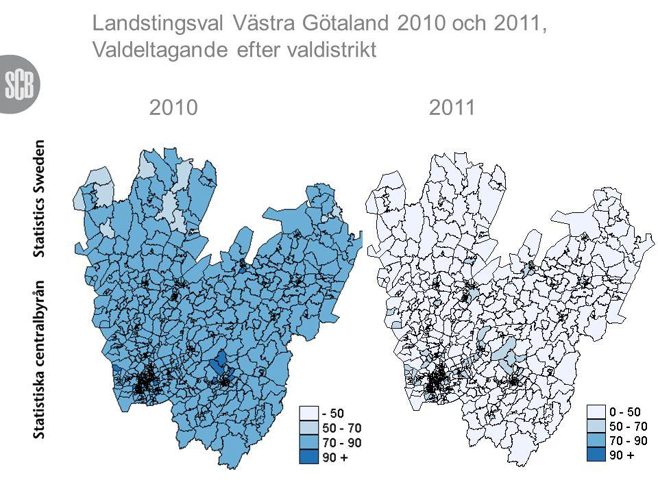 Landstingsval Västra Götaland 2010 och 2011 Valdeltagande efter valdistrikt (957 st)
