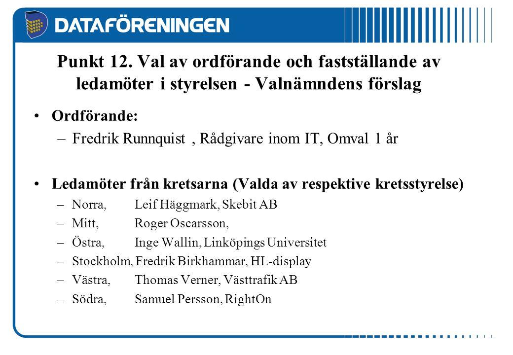 Punkt 12. Val av ordförande och fastställande av ledamöter i styrelsen - Valnämndens förslag Ordförande: –Fredrik Runnquist, Rådgivare inom IT, Omval