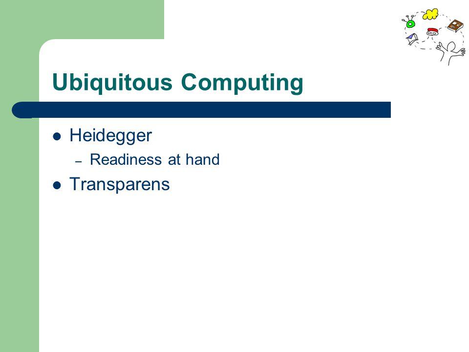 Ubiquitous Computing Heidegger – Readiness at hand Transparens