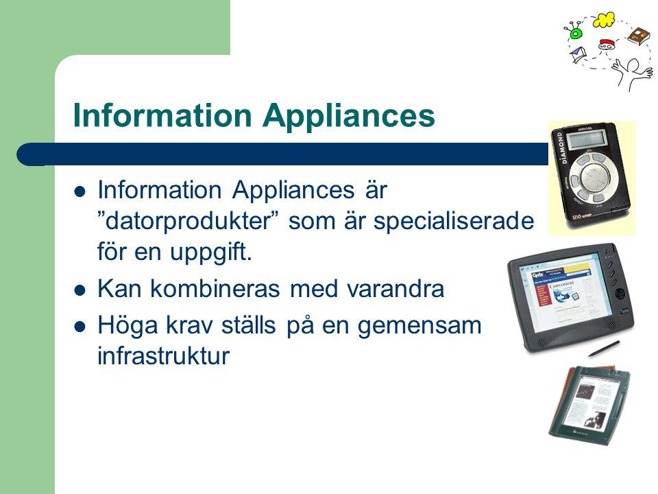 """Information Appliances Information Appliances är """"datorprodukter"""" som är specialiserade för en uppgift. Kan kombineras med varandra Höga krav ställs p"""