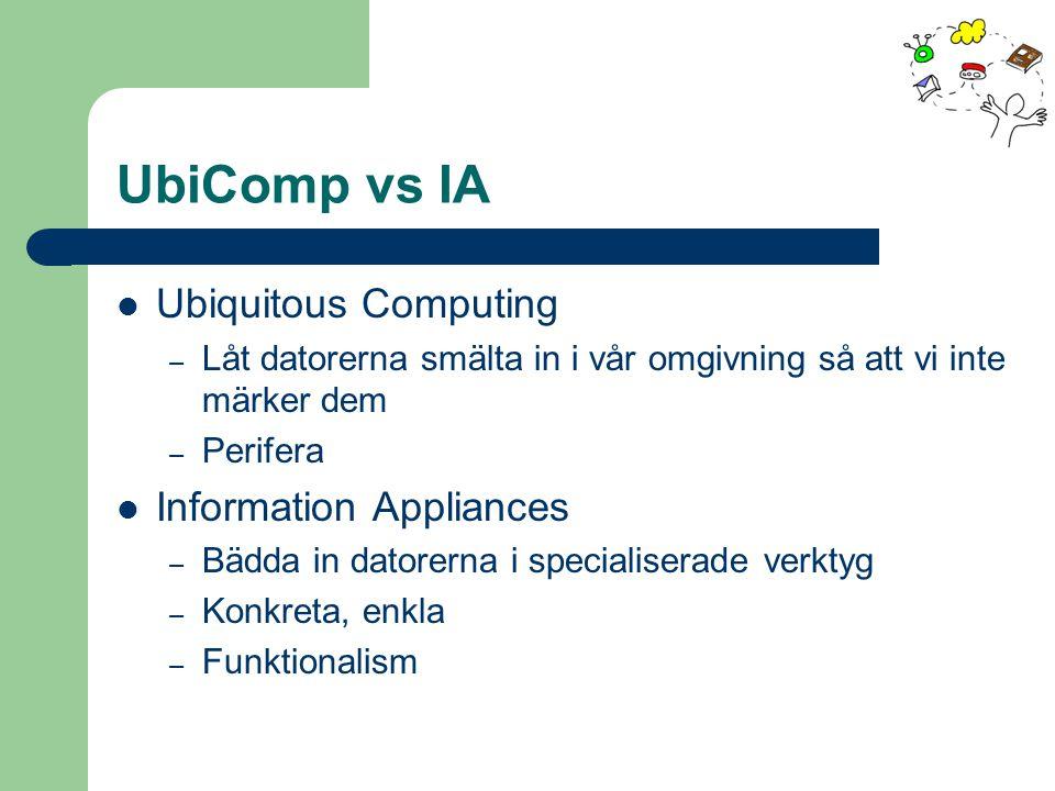 UbiComp vs IA Ubiquitous Computing – Låt datorerna smälta in i vår omgivning så att vi inte märker dem – Perifera Information Appliances – Bädda in da
