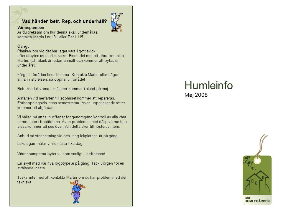 Humleinfo Maj 2008 Vad händer betr. Rep. och underhåll.