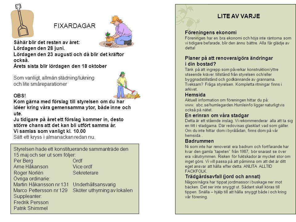FIXARDAGAR Såhär blir det resten av året: Lördagen den 28 juni.