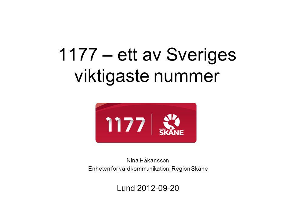 1177 – ett av Sveriges viktigaste nummer Nina Håkansson Enheten för vårdkommunikation, Region Skåne Lund 2012-09-20