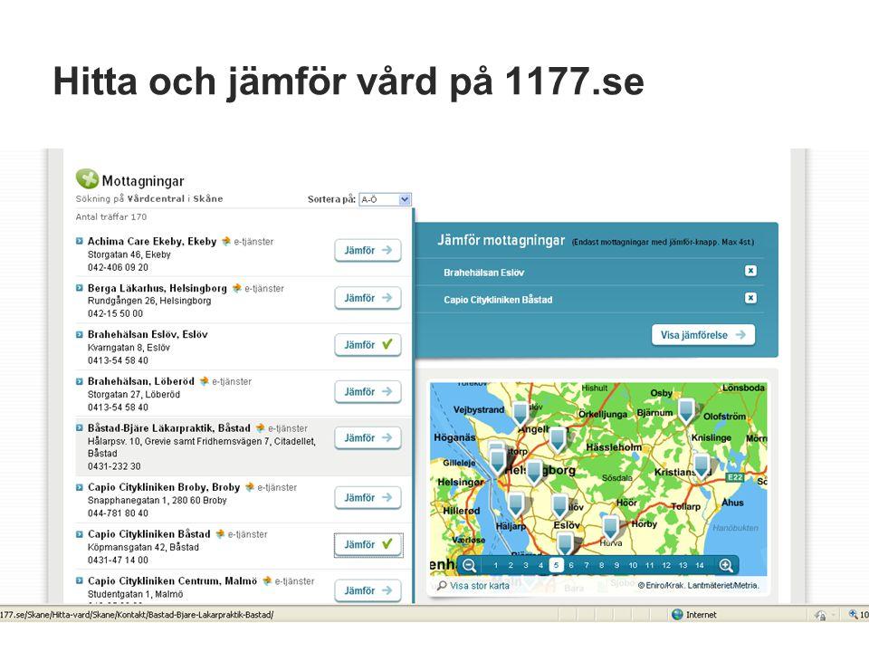 Hitta och jämför vård på 1177.se
